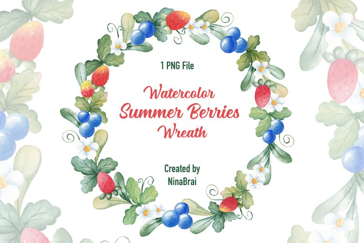 Watercolor strawberry wreath clipart. Summer clipart .