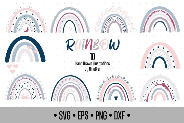 Boho Rainbow SVG Bundle, Rainbow Clipart - png dxf eps.