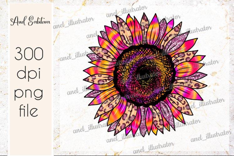 Tie Dye leopard Sunflower PNG