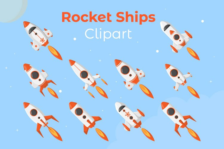 Rocket ships clipart with modern style