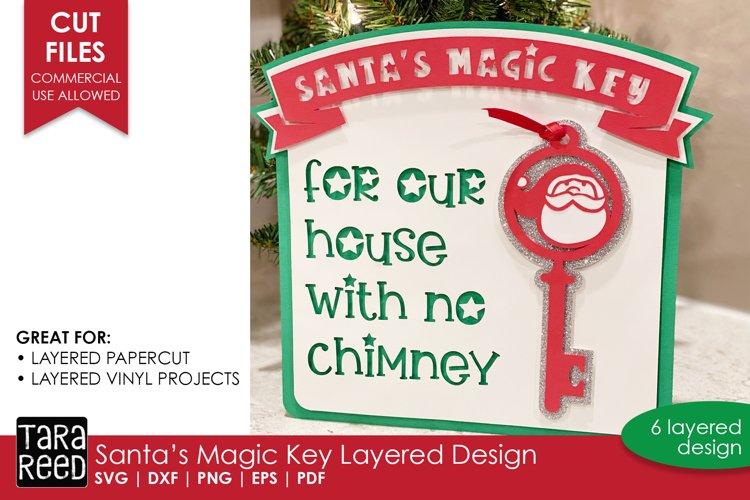 3D Santas Magic Key Layered Paper Cut Design