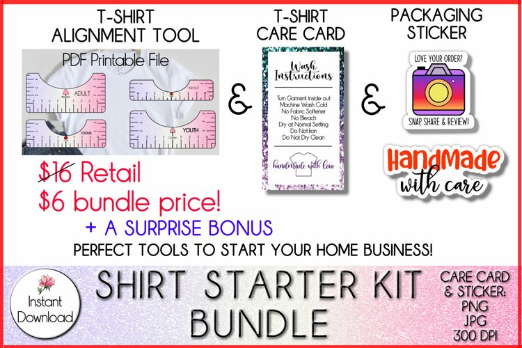 T Shirt Alignment Tool, Care Card & Packaging Sticker Bundle