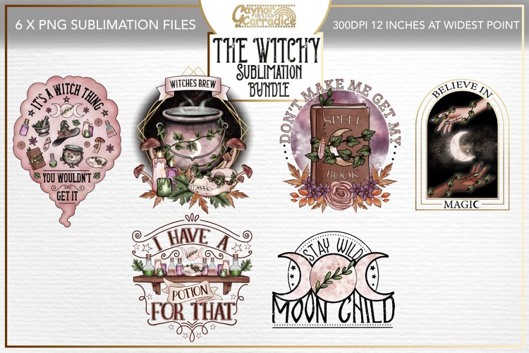 Witchy sublimation bundle - 6 x witch sublimation designs example image 1