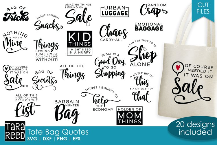Tote Bag Quotes SVG Bundle for Crafters