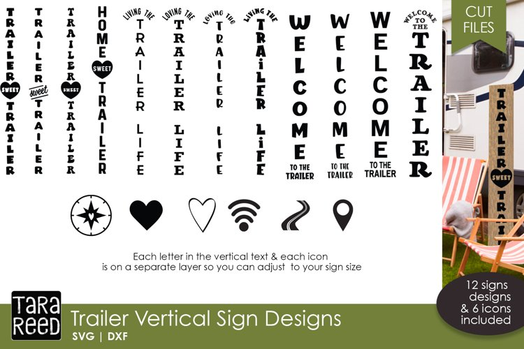Trailer Vertical Signs - Camping SVG & Cut Files example image 1