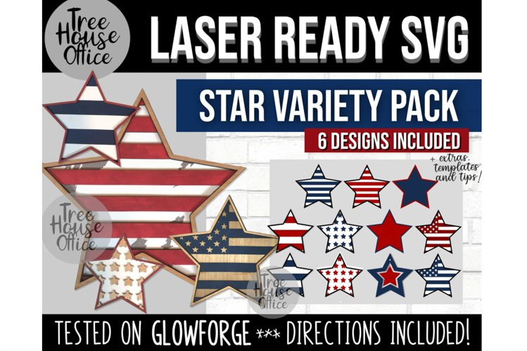 Star Shape Laser SVG, 4th of July, Patriotic Americana Star