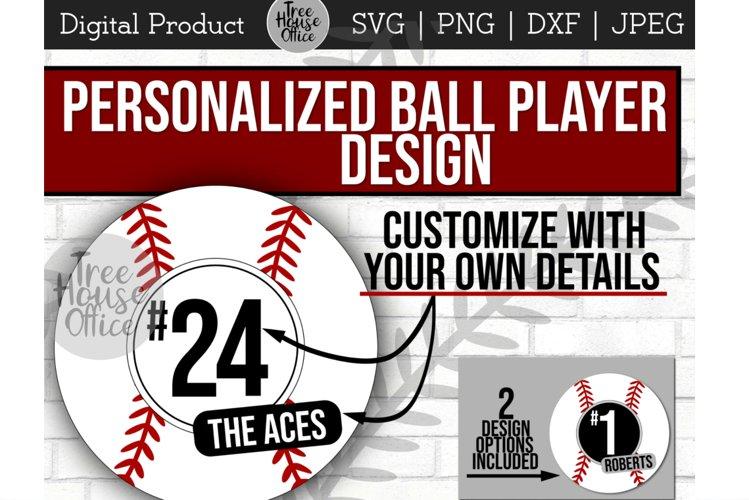 Baseball Player Number, Team Name Softball SVG PNG JPEG