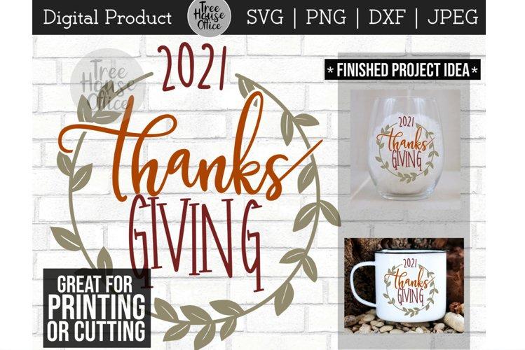 Thanksgiving 2021 Wreath Leaf Design SVG PNG DXF JPEG