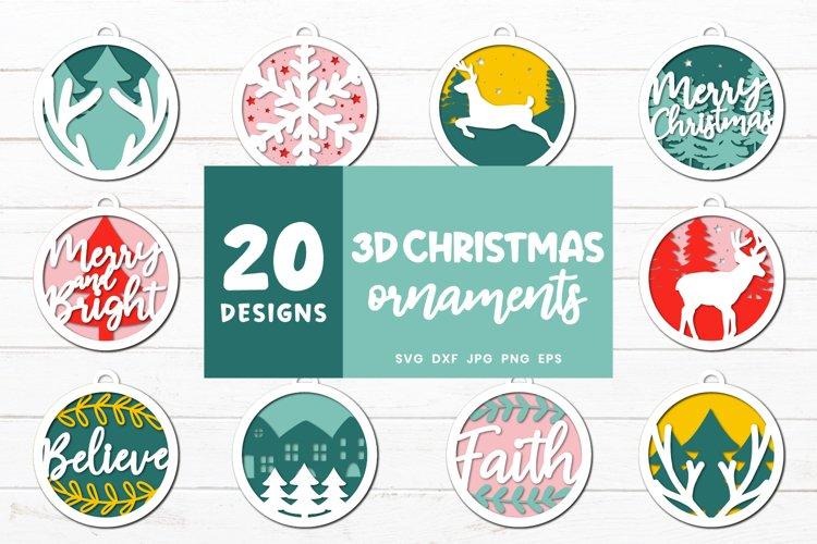 3D Christmas Ornaments Svg | Christmas Decoration Svg Bundle