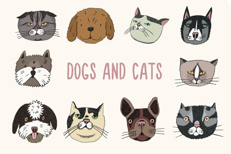Cute hand drawn dogs and cats