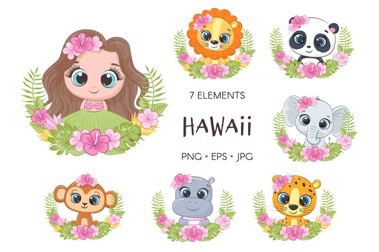 Baby Animal With Floral Wreath, Hawaii Clipart
