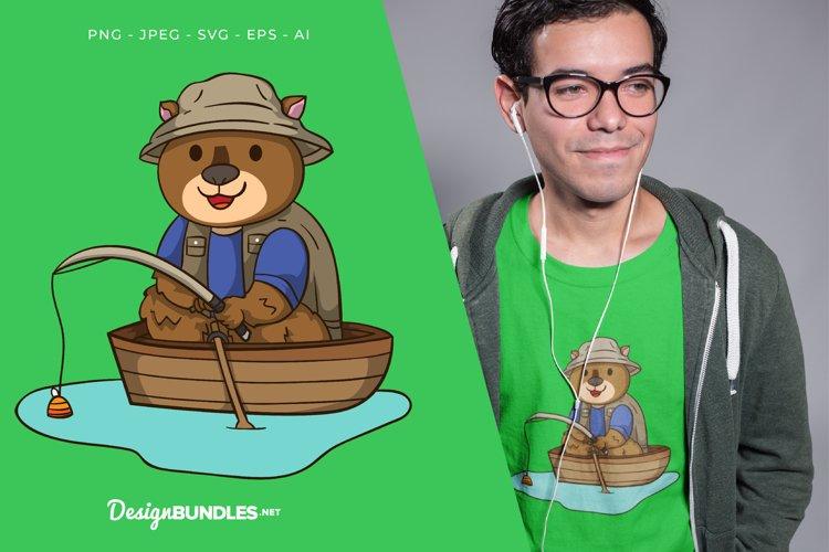 Bear Fishing Vector Illustration For T-Shirt Design