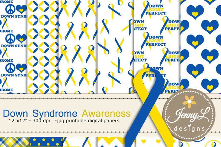 Down Syndrome Awareness Digital Papers and Cipart SET example image 1