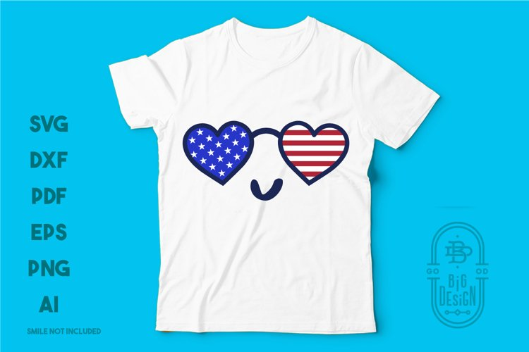 Heart Sunglasses and USA Flag Reflection - 4th of July SVG example image 1
