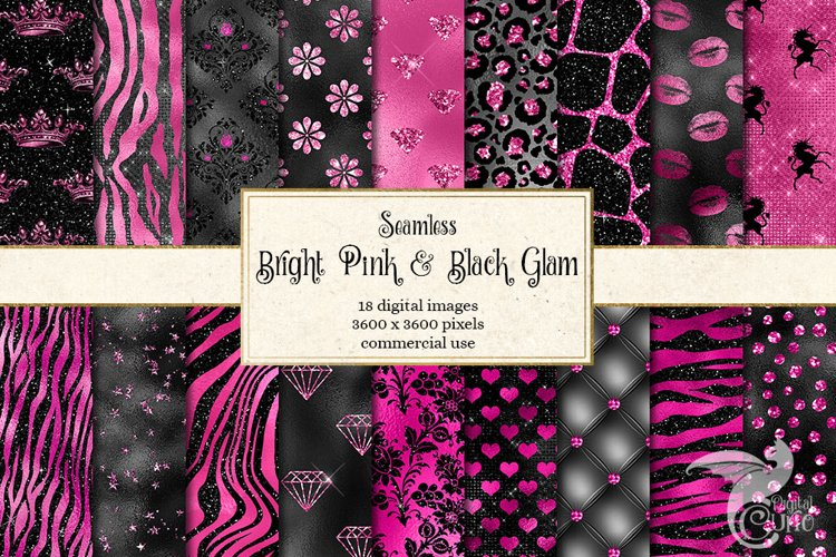Bright Pink and Black Glam Textures