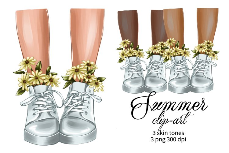 Summer clipart, legs in white sneakers and flowers