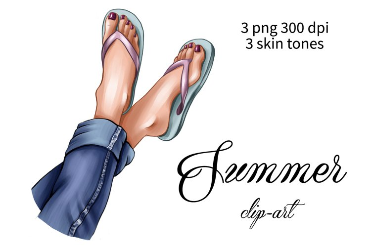 Summer clipart, feet in flip flops png, Legs and jeans
