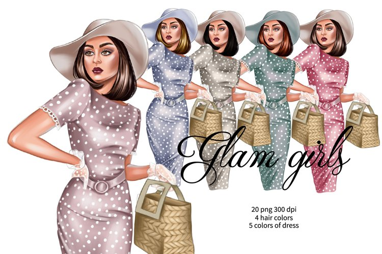 Fashion girl in polka dots dress clipart, planner girl png