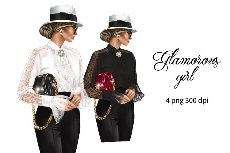 Fashion glam girl clipart, girl boss planner illustration