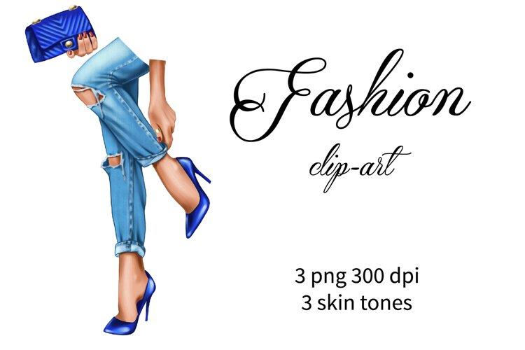 Fashion clipart, blue shoes and glamorous bag, female feet