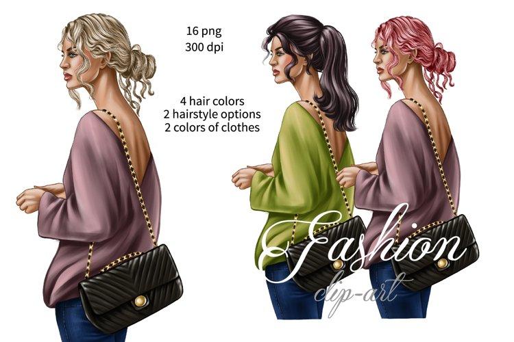 Fashion illustration, planner girl clipart, Street urban png