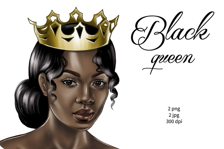 Black queen png, afro woman with gold crown clipart