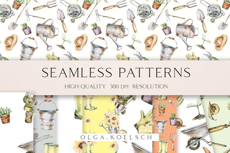 Watercolor gardening seamless pattern, digital paper 033