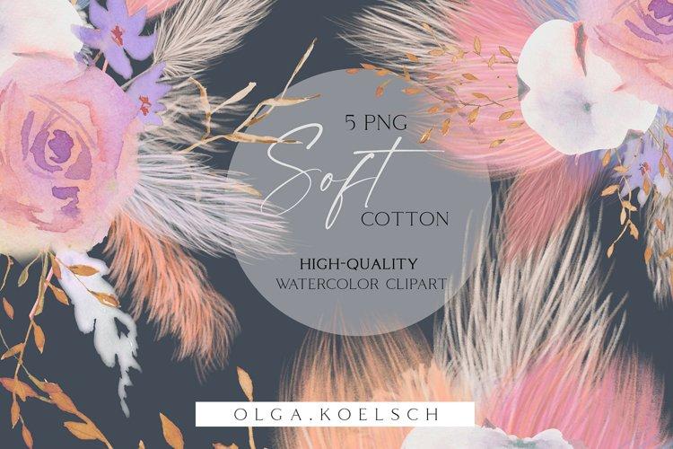Cotton clip art, Pampas grass clipart, Dusty pink floral 028