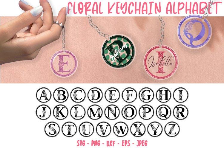Floral Keychain Alphabet SVG, Keyring Alphabet Cut files
