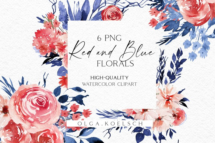 Watercolor red floral clipart, Boho blue flowers clipart 027