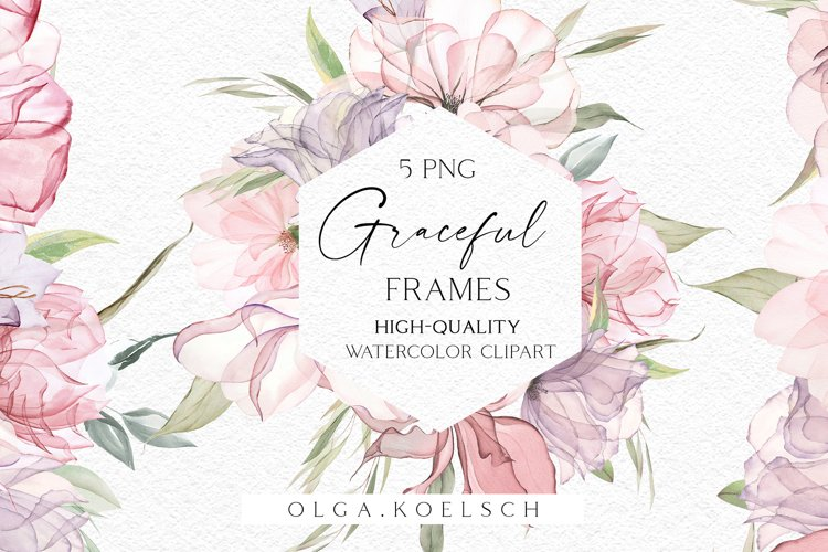 Boho rose frames clipart Dusty pink watercolor floral 026