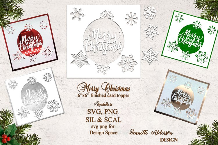 """6""""x6"""" Merry Christmas Snowflakes christmas card cutting file example image 1"""