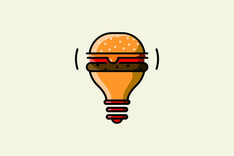 burger lights logo design vector