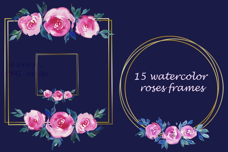 golden frames with watercolor pink roses flowers Clipart example image 1