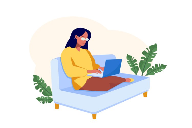 Freelancer woman sitting with computer on sofa at home