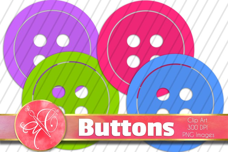 Colorful Buttons Clip Art / 16 PNG images example image 1
