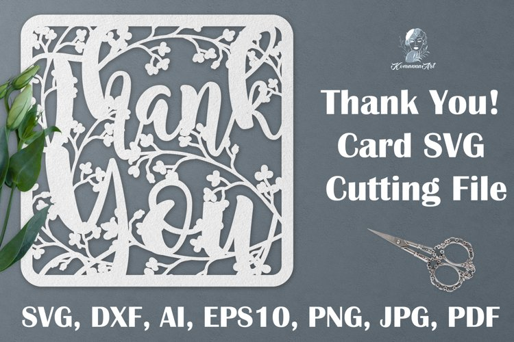 Thank You paper cut SVG, Card SVG cutting file, Gift Teacher