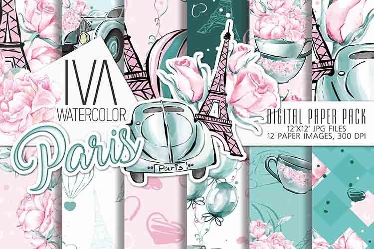 Valentine day digital paper, Paris digital paper pack example image 1