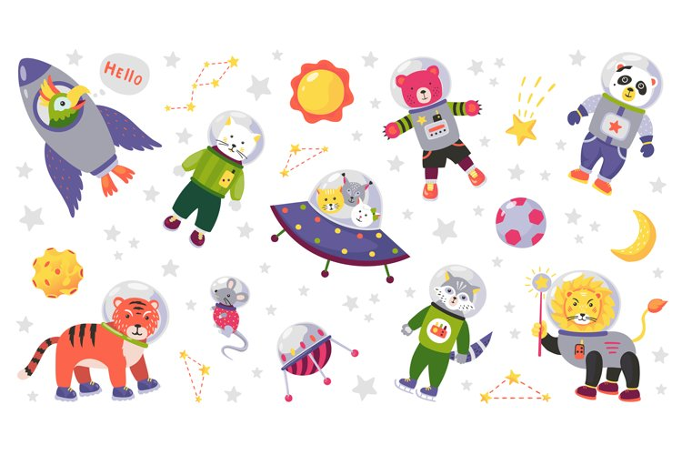 Space animal kids. Cartoon baby characters in space costumes example image 1