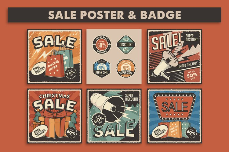Retro Sale Discount Poster and Badge example image 1