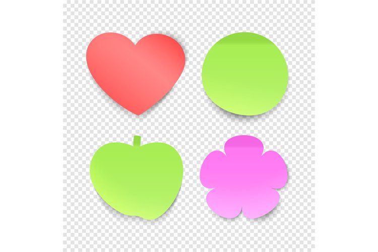 Memo stickers vector collection, sticky notes isolated on tr example image 1