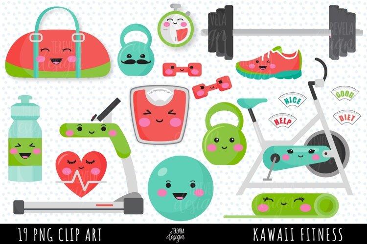 Kawaii fitness clipart, exercise clipart, yoga, health, gym