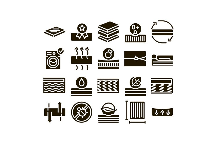 Mattress Orthopedic Glyph Set Vector example image 1