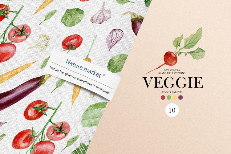 Watercolor Vegetables seamless patetrn. Eco Green Vegetarian