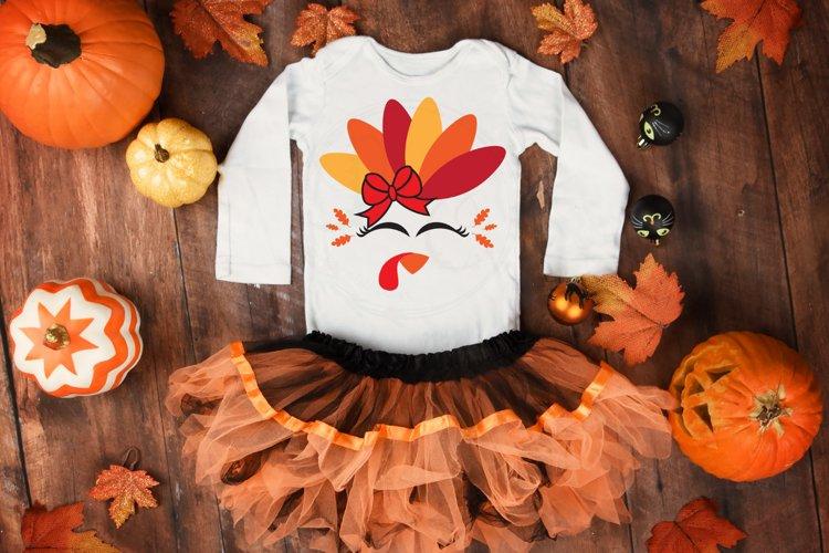 Girl Turkey SVG, Thanksgiving cut file example image 1