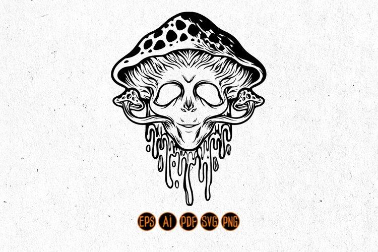 Mushroom headed alien Silhouette Svg Graphic Illustrations