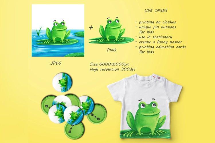 Cute cartoon frog, digital illustration