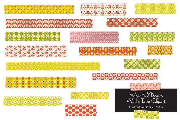 Vintage Pattern Washi Tape Clipart example image 1