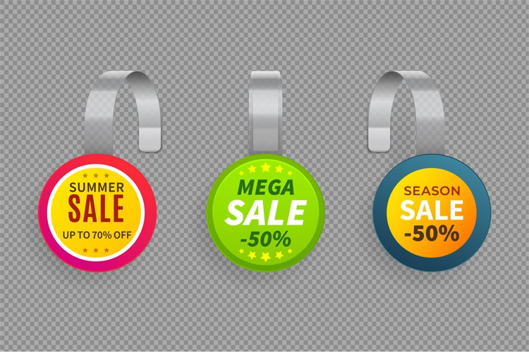 Wobbler sale. 3D template wobblers supermarket bended. Disco example image 1