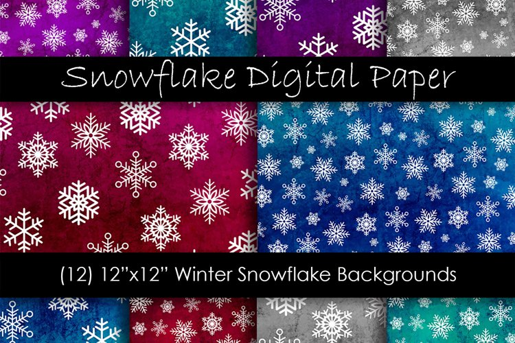 Snowflake Backgrounds - Winter Snow Digital Paper example image 1